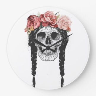 Spring skull large clock
