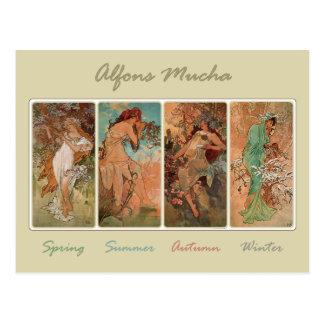 Spring Summer Autumn Winter by Mucha Postcard