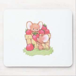 Spring Summer Strawberry Workshop Mice Mouse Pad