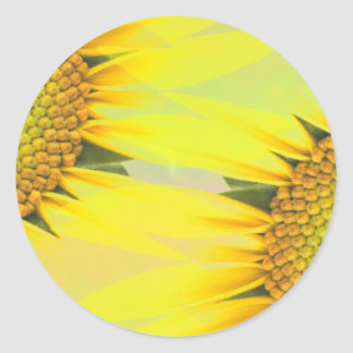Spring sunflowers classic round sticker