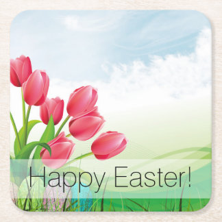 Spring Tulips and Easter Eggs Square Paper Coaster