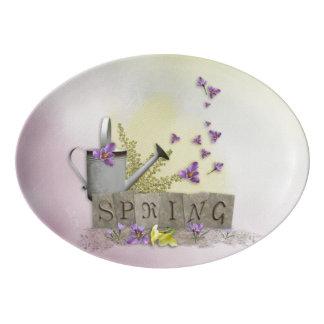 "Spring - ""Water Can & Signs of Spring"" Porcelain Serving Platter"