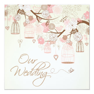Spring Wedding Bird Cages  Wedding Invitations