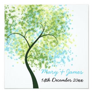 "Spring Wedding Swirly Tree ""Save The Date"" 13 Cm X 13 Cm Square Invitation Card"