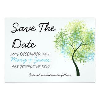 "Spring Wedding Swirly Tree ""Save The Date"" 13 Cm X 18 Cm Invitation Card"