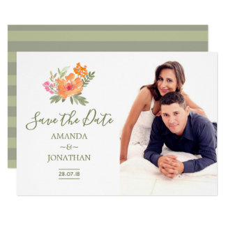 Spring Wedding watercolor flowers Save the Date Card
