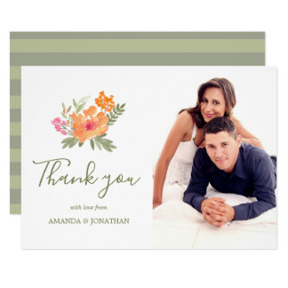 Spring Wedding watercolor flowers Thank You photo Card