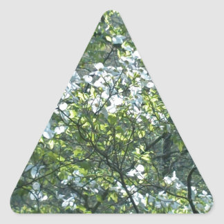 spring white dogwood flowers triangle sticker
