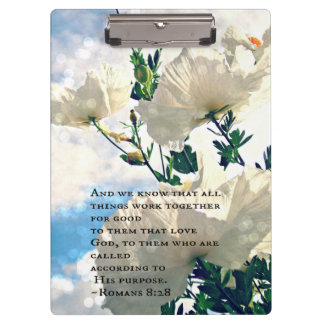 Spring White Flowers and Romans 8:28 Bible Verse Clipboards