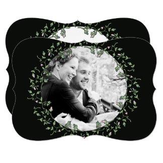 Spring Wreath Photo Black Wedding Invitation