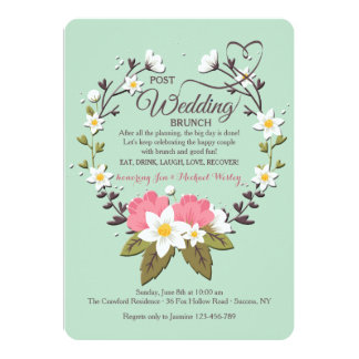Spring Wreath Post Wedding Brunch Invitation