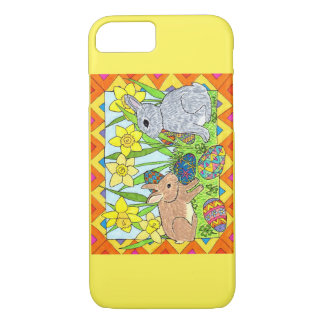 Springtime Bunnies with Colorful Eggs iPhone 8/7 Case
