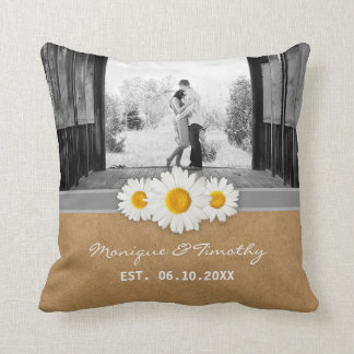 Springtime Daisies Ribbon Faux Paper Wedding Throw Pillow
