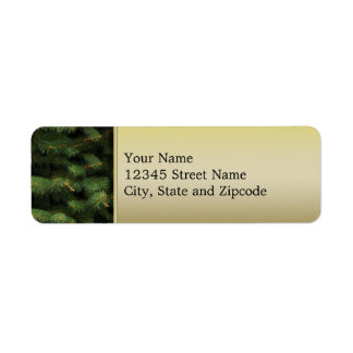 Spruce Tree with Gold Background Return Address Label