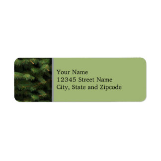 Spruce Tree with Green Background Return Address Label