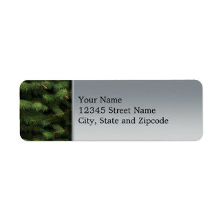 Spruce Tree with Silver Background Return Address Label