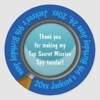 Spy / Secret / Special Agent Birthday Party Favor Classic Round Sticker