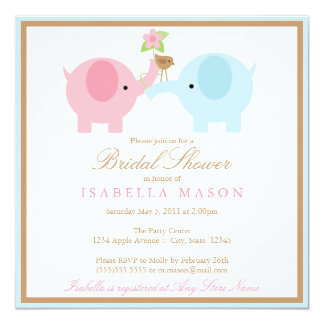 Square Blue Elephant Bridal Shower Invitation