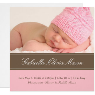 Square Brown & Pink | Birth Announcement