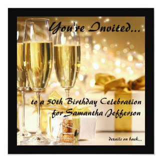 Square Champagne Sparkle Golden 50th Birthday Card