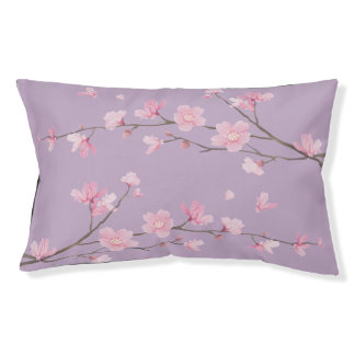 Square- Cherry Blossom - Transparent Background Pet Bed