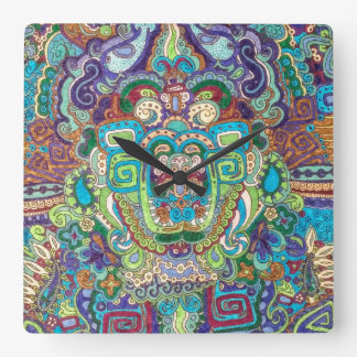 square clock with funky design in cool colours