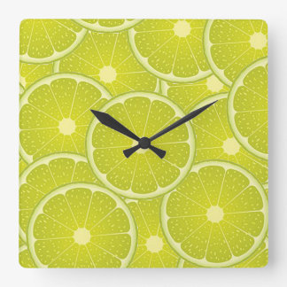Square clock with limes.