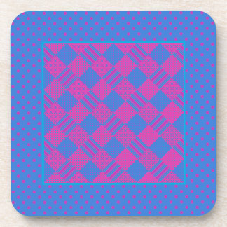 Square Coasters: Magenta and Blue Faux-Patchwork Coaster