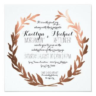 Square Faux Copper Laurel Wreath Olive Leaf Branch 13 Cm X 13 Cm Square Invitation Card