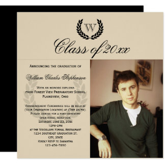Square Letter Monogram Classic Photo Graduation Card