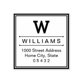 Square Monogram | Return Address Rubber Stamp