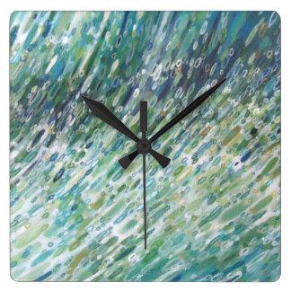 Square Ocean Wave Coastal Clock by Margaret Juul