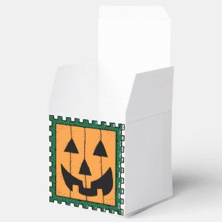 Square Orange Jack-O-Lantern Halloween Treat Box Favour Boxes