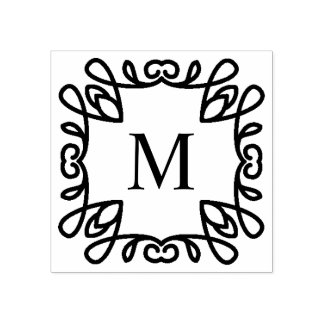 Square Ornate Monogram Rubber Stamp