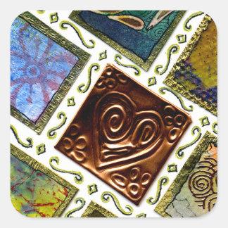 Square Pattern Different Techniques Copper Heart Square Sticker