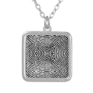 Square People Fingerprints Silver Plated Necklace