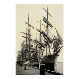 Square-Rigged Ships at the Wharf Poster