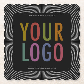 Square Scalloped Edge Paper Coasters Company Logo