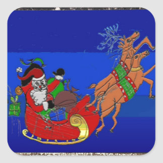 Square Stickers with Santa on his Sleigh Ride