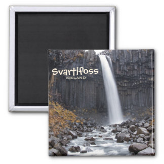 Square Svartifoss waterfall in Iceland text magnet