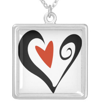 Square two hearts that beat as one square pendant necklace