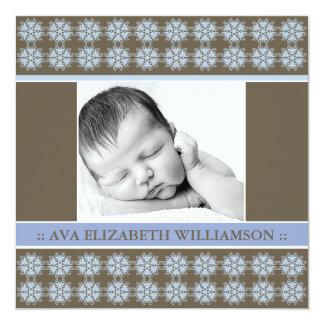 Square Victorian Periwinkle Birth Announcement