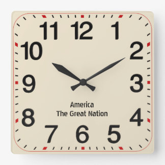 Square Wall Clock - AMERICA THE GREAT NATION