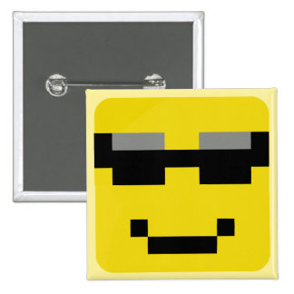 (squared smiley cool 15 cm square badge