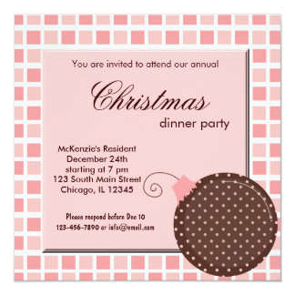 "Squares Christmas dinner 5.25"" Square Invitation Card"