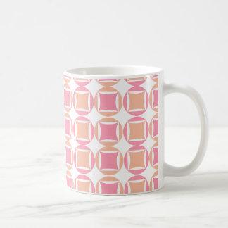 Squares & Circles in Orange and Pink Pattern Basic White Mug
