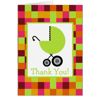Squares & Green Carriage Baby Shower Thank You Card