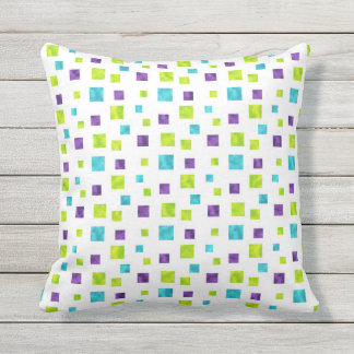 Squares Pattern Multi Color Shimmer (1) Outdoor Cushion