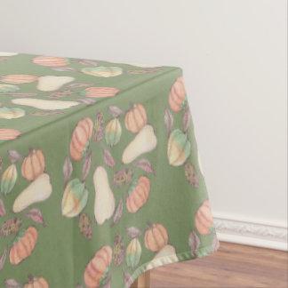 Squash Bounty Autumn Harvest Green Background Tablecloth