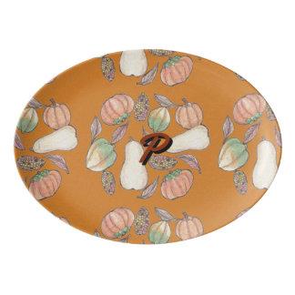Squash Bounty Autumn Harvest Orange Background Porcelain Serving Platter